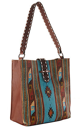 Blazin Roxx Brown and Turquoise Southwest Print Concealed Carry Tote Purse