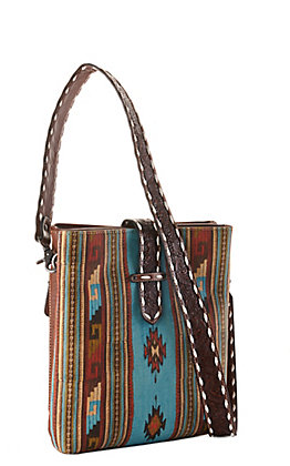 Blazin Roxx Brown and Turquoise Southwest Print Concealed Carry Crossbody Purse