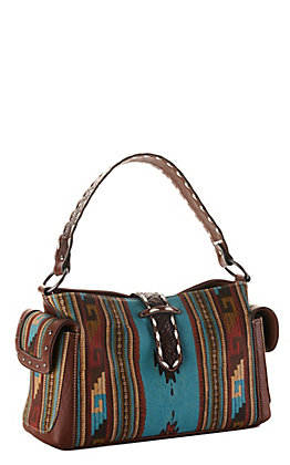 Blazin Roxx Brown and Turquoise Southwest Print Concealed Carry Satchel Purse