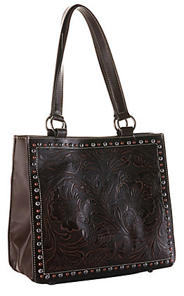 Blazin Roxx Brown with Tooling and Studs Concealed Carry Tote Purse