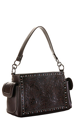 Blazin Roxx Brown with Tooling and Studs Concealed Carry Satchel Purse