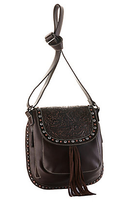 Blazin Roxx Brown with Tooling and Studs Concealed Carry Crossbody Purse
