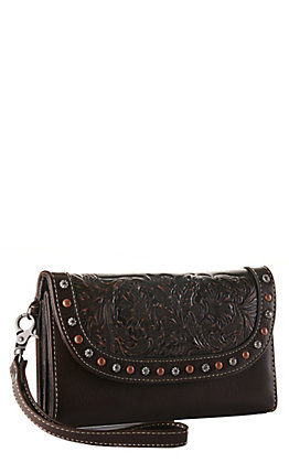 Blazin Roxx Brown with Tooling and Studs Clutch Wallet