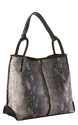 Blazin Roxx Grey Python Print and Black Concealed Carry Tote Purse