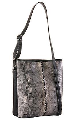 Blazin Roxx Grey Python Print and Black Concealed Carry Tote Crossbody Purse