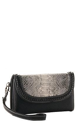 Blazin Roxx Black with Grey Python Print Clutch Wallet