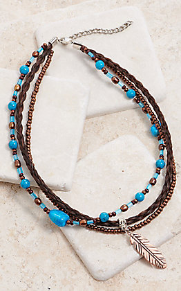 Cowboy Collectibles Multi Strand Copper Feather Charm Necklace
