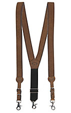 Nocona Men's Medium Brown Basket Weave Suspenders