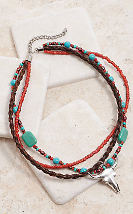 Cowboy Collectibles Red & Turquoise Beaded Multi Strand Silver Cow Skull Charm Necklace