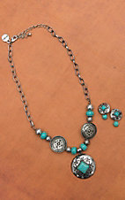 Silver and Turquoise Concho Necklace and Earrings Set with Rhinestones