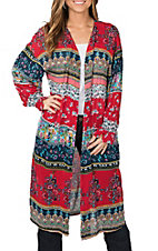 Patrons of Peace Women's Red and Navy Multi Print Kimono