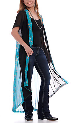 Crazy Train Women's Black & Turquoise Native Dream Duster