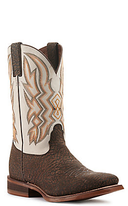 Nocona Men's Hero Deputy Chocolate Brown and Bone Wide Square Toe Western Boot