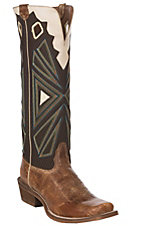 Nocona Boots Men's Buckaroo Tan with Chocolate Mesh Cowhide Western Square Cutter Toe Boots