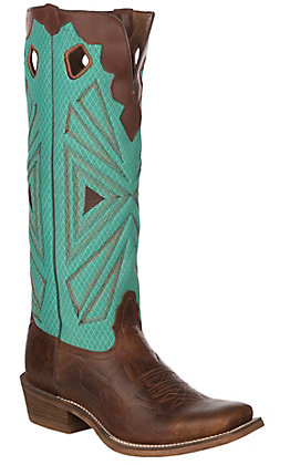 Nocona Boots Men's Buckaroo Cognac with Blue Green Mesh Cowhide Western Square Cutter Toe Boots