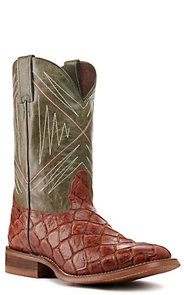 Nocona Men's Hero Cognac Pirarucu Print and Green Wide Square Toe Western Boots