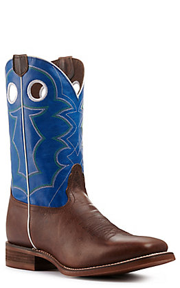 Nocona Men's Hero Cohan Brown and Blue Wide Square Toe Western Boot