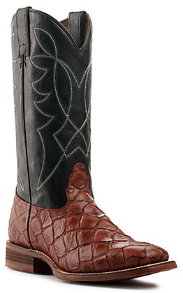 Nocona Men's Hero Go Round Black and Cognac Pirarucu Print Wide Square Toe Western Boot