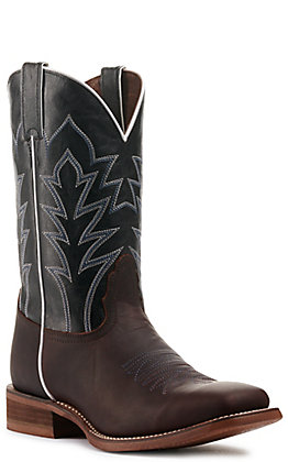 Nocona Men's Hero Baylon Oiled Brown and Black Wide Square Toe Western Boot
