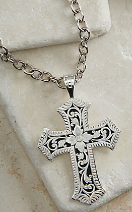 Montana Silversmiths Silver Floral Engraving Cross Necklace