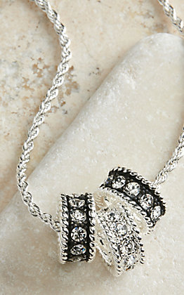 Montana Silversmiths Silver with Black Crystal Shine Necklace