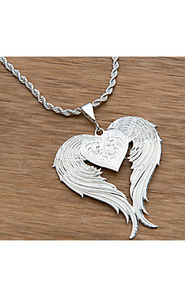 Montana Silversmiths Silver Winged Heart Necklacle