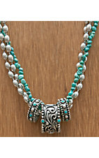 Montana Silversmiths Antique Silver w/ Turquoise 3 Rings & Strands Necklace