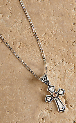 Montana Silversmiths Antiqued Silver with Copper Cross Necklace