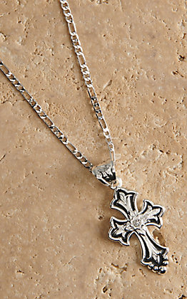 Montana Silversmiths Silver and Black with Clear Crystal Cross Necklace