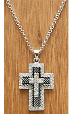 Montana Silversmiths Silver Cross with Roping and Clear Crystals Necklace