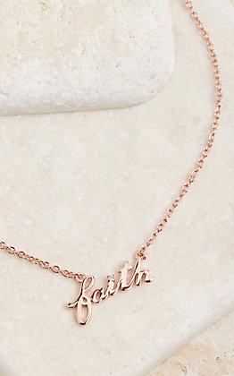 Montana Silversmiths Rose Gold Written Faith Necklace