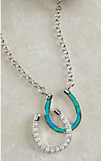 Montana Silversmiths River Lights Double Horseshoe Opal Necklace