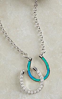 Montana Silversmiths River Lights Double Horseshoe Opal Necklace