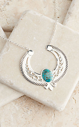 Montana Silversmiths Silver & Turquoise Hanging Reverse Squash Blossom Necklace