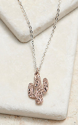 Desert Darling Rose Cactus Pendant Necklace