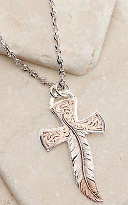 Montana Silversmiths Wind Dancer Feather Cross Necklace