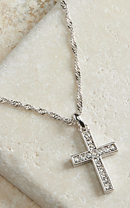 Montana Silversmiths Silver Cross Crystal Necklace