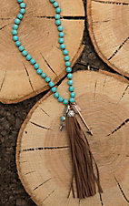 Southern Junkie Turquoise Beaded with Tassel and Arrow Pendant Necklace