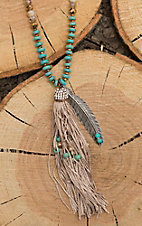 Southern Junkie Turquoise and Tan Beaded with large Tassel & Feather Pendant Necklace