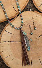 Southern Junkie Turquoise Beaded with Brown Tassel and Feather Jewelry Set