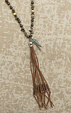 Southern Junkie Multi Stone with Brown Tassel and Arrow Charms Necklace