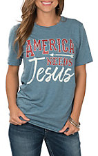 Crazy Train Women's Blue America Needs Jesus Short Sleeve T-Shirt