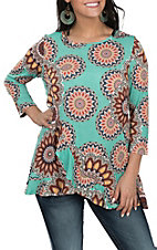 James C Women's Mint and Coral Medallion Print Ruffle 3/4 Sleeve Fashion Shirt