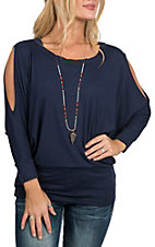 James C Women's Navy Cold Shoulder Dolman Fashion Shirt