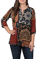 James C Women's Multi Print Top