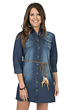 Stevie & Lindsay Women's Denim 3/4 Sleeve Belted Shirt Dress