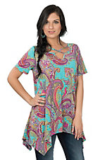 James C Women's Mint Scroll/Paisley Fashion Top