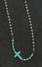Wired Heart Crystal Beaded with Turquoise Cross Necklace