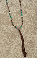 Wired Heart Turquoise and Bronze with Tassel Pendant Necklace