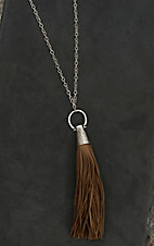 Wired Heart Silver with Tan Tassel Pendant Necklace